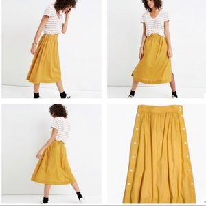 Madewell Side Button Midi Skirt Mustard Cumin Sz 8